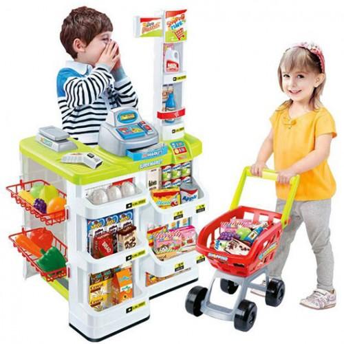 Детски супермаркет с количка за пазаруване