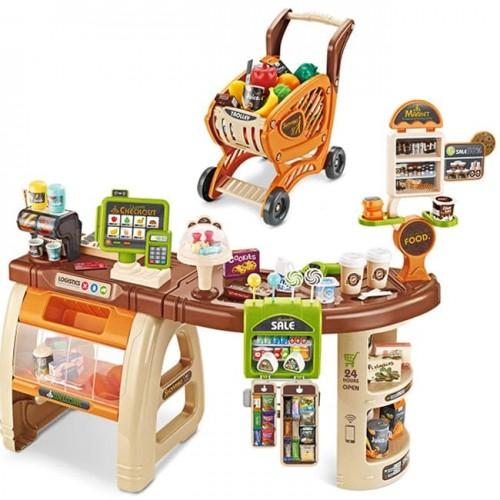 Голям детски супермаркет с пазарска количка