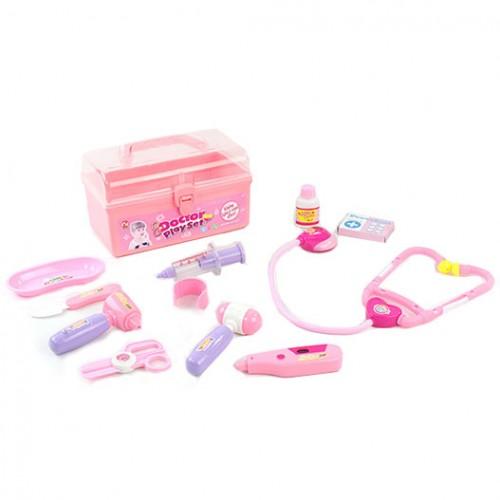Докторски комплект в куфар - розов